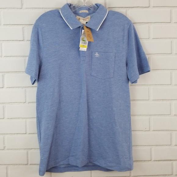 S M ORIGINAL PENGUIN Men/'s Grey /& Blue Heritage Slim Fit Striped Polo Shirt